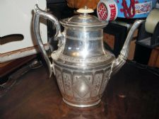 ANTIQUE SILVER PLATED COFFEE POT ORNATE KNOB PHILIP ASHBERRY SUPERB CHASED 3631